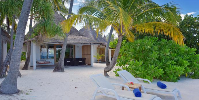 Aussenansicht, Beach Bungalow, Angaga Island, Malediven