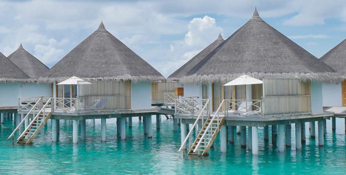 Aussenansicht, Superior Water Bungalow, Angaga Island, Malediven