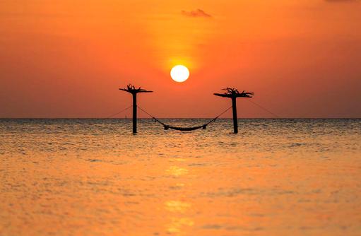 Sonnenuntergang in der Lagune, Anantara Dhigu, Maledives