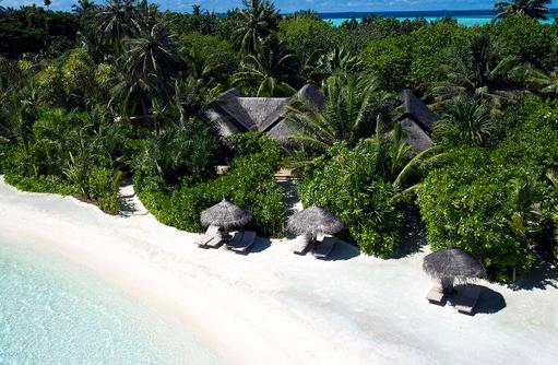 Vogelperspektive der Family Beach Villa, Anantara Dhigu, Maledives