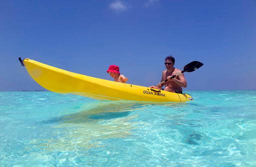 Familienurlaub, Kayaking, Anantara Dhigu, Maledives