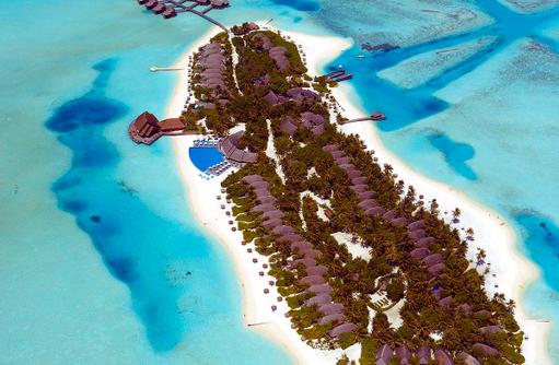 Vogelperspektive auf die Insel Anantara Dhigu, Maledives