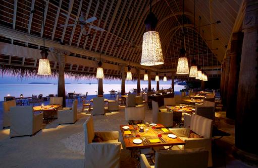 PLATES Restaurant, Dämmerung, Anantara Kihavah Villas, Maldives