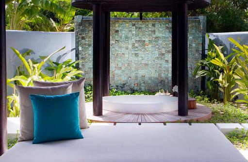 Beach Villa, Relaxation Bed, Badezimmer, Anantara Kihavah Villas, Maldives