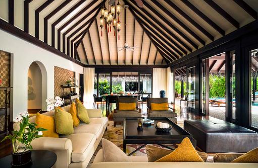 Three Bedroom Residence, Wohn- und Esszimmer, Anantara Kihavah Villas, Maldives
