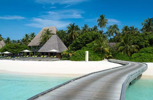 Ankunftssteg auf die Trauminsel Anantara Kihavah Villas, Maldives
