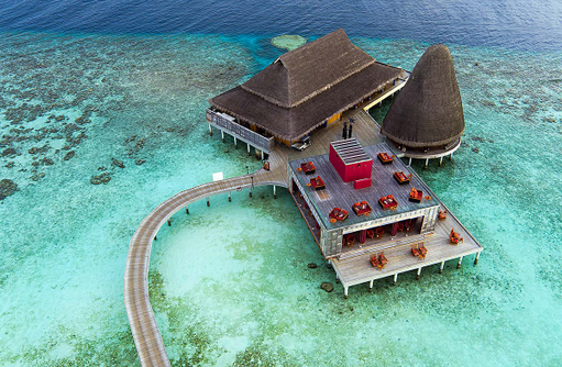 Dining Komplex, Luftbild, Anantara Kihavah Villas, Maldives