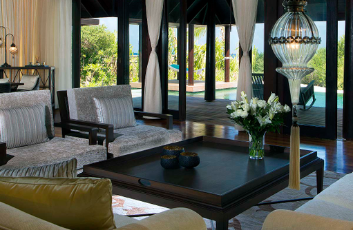 Two Bedroom Beach Pool Residence, Wohnzimmer, Anantara Kihavah Villas, Maldives