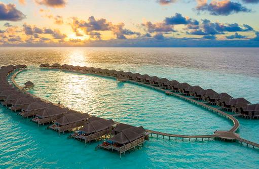 Overwater Villas Area, Sonnenuntergang, Anantara Kihavah Villas, Maldives
