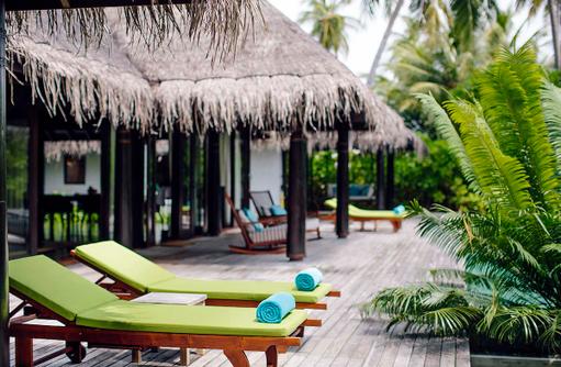 Two Bedroom Beach Residence, Terrasse, Anantara Kihavah Villas, Maldives