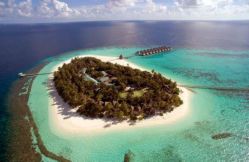 Blick auf die Insel von oben, Angaga Island Resort & Spa, Maldives