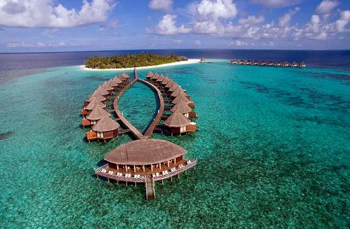 Frontansicht, Sunset Bar, Water Bungalows, Angaga Island Resort & Spa, Maldives