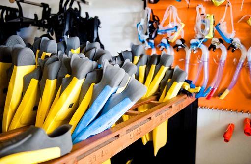 Tauch Equipment, Flossen, Schnorchel, Angsana Ihuru, Malediven
