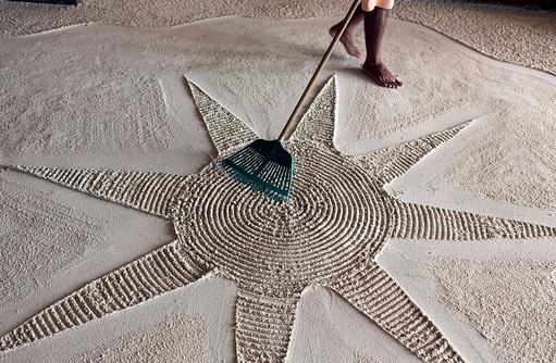 Liebe zum Detail, Sandkunst, Angsana Velavaru, Malediven