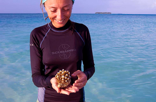 Meeresbiologin, Angsana Velavaru, Malediven