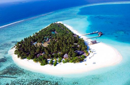 Blick auf die Insel, Angsana Velavaru, Malediven