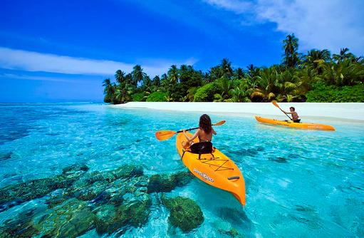 Kayaking in der Lagune, Angsana Velavaru, Malediven