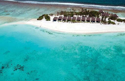 Blick von oben auf die Sunset Pool Villas, Atmosphere Kanifushi Maldives