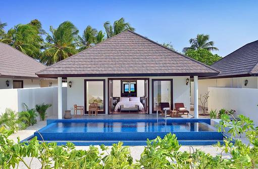 Sunset Pool Villa von außen, Atmosphere Kanifushi Maldives