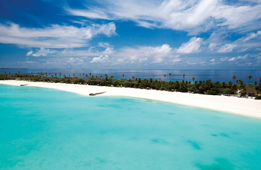 Blick auf die Sunset Beach Villas, Atmosphere Kanifushi Maldives