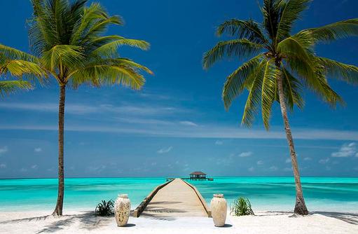 Blick auf den Ankunftssteg, Atmosphere Kanifushi Maldives