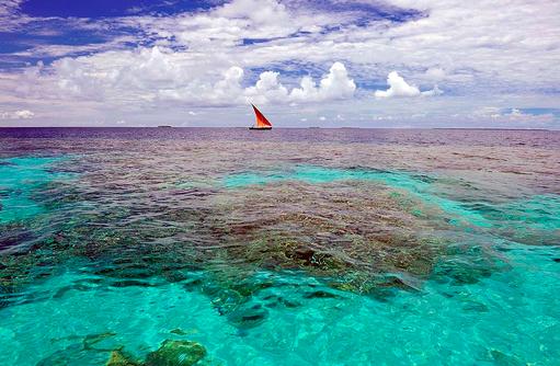 Segelboot auf dem Meer, Ayada Maldives