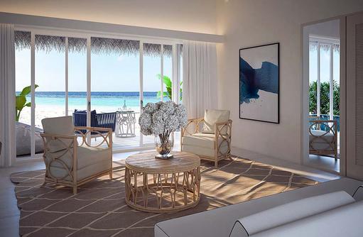 Wohnen in der Beach Villa, Baglioni Resort Maldives