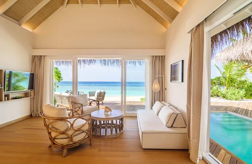 Pool Suite Beach Villa Wohnbereich, Baglioni Resort Maldives