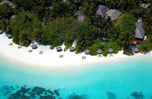 Blick auf den Strand aus der Luft, Baros Maldives