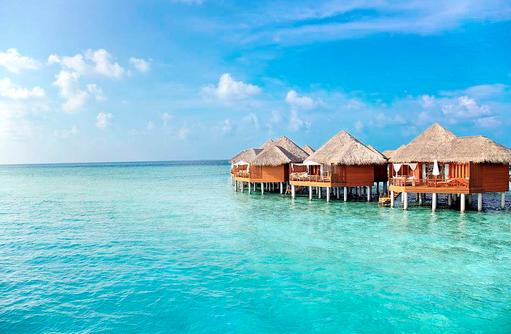 Water Villas, Blick vom Meer, Baros Maldives