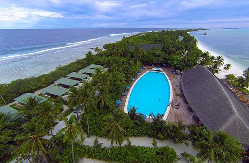 Drohnenaufnahme Pool, Inselblick, Canareef Resort, Malediven