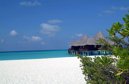 Weißer Sandstrand und Lagoon Villa, Coco Palm Dhuni Kolhu, Malediven