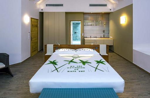 Schlafbereich der Beach Suite, Cocoon Maldives