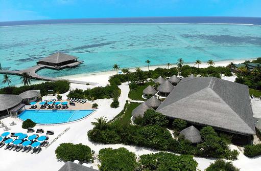 Drohnenaufnahme der Insel, Cocoon Maldives