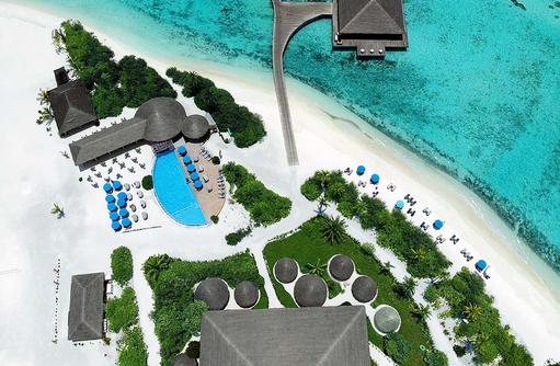 Vogelperspektive der Insel, Cocoon Maldives