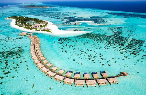 Blick auf die Wasservillen, Cocoon Maldives