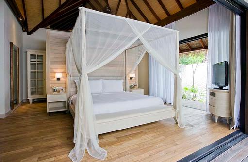 Schlafzimmer der Garden Suite, COMO Maalifushi, Maldives