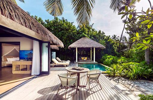 Terrasse der Beach Villa, COMO Maalifushi, Maldives