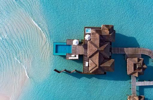 Sunset Water Villa, Blick von oben, Conrad Maldives Rangali Island, Maldives