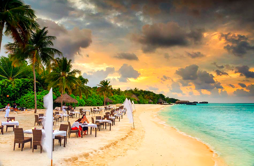 Champagne BBQ, Sonnenuntergang, Essen am Strand, Conrad Maldives Rangali Island, Maldives