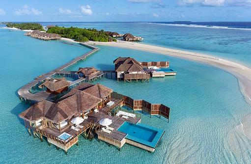 Sunset Water Villa, Vogelperspektive, Conrad Maldives Rangali Island, Maldives