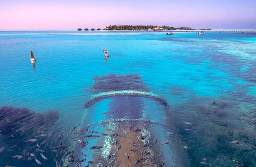 Ithaa Undersea Restaurant von oben, Conrad Maldives Rangali Island, Maldives