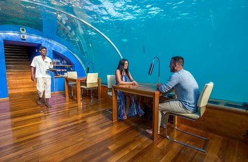 Ithaa Undersea Restaurant, Dinner unter Wasser, Conrad Maldives Rangali Island, Maldives
