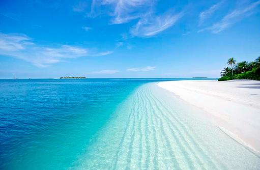 Traumstrand, weisser Sand, Türkisblaues Meer, Conrad Maldives Rangali Island, Maldives