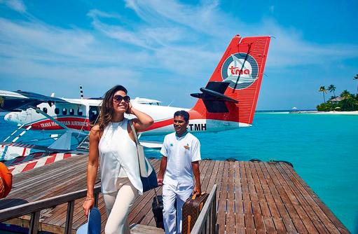 Wasserflugzeug, Ankunft auf Constance Halaveli Resort, Maldives