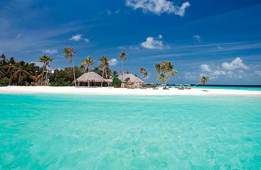Blick auf die Insel vom Meer aus, Constance Halaveli Resort, Maldives