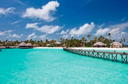Blick auf die Insel aus dem Meer, Constance Halaveli Resort, Maldives