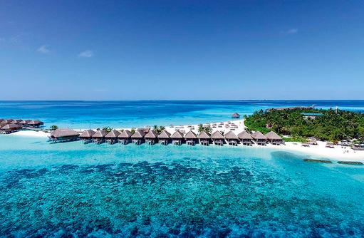 Luftaufnahme, Drohnenaufnahme, Wasser Villen, Constance Moofushi Resort, Malediven