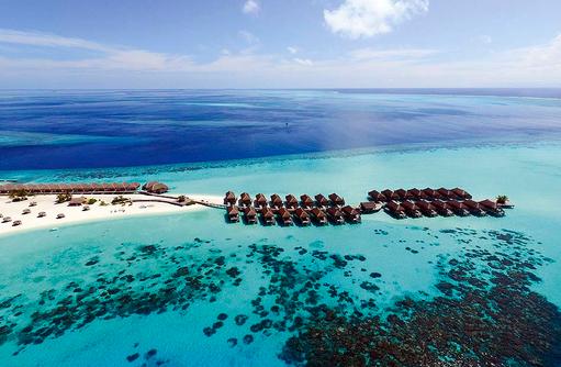 Drohnenaufnahme, Senior Water Villen und Water Villen, Constance Moofushi Resort, Malediven