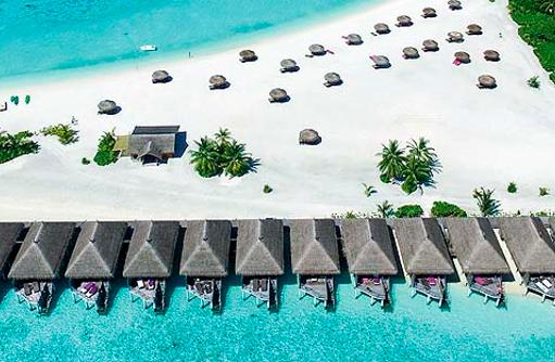 Panorama, Drohnenaufnahme, Wasser Villen, Constance Moofushi Resort, Malediven